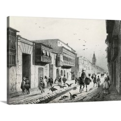 Large Gallery-Wrapped Canvas Wall Art Print 24 x 17 entitled Street Scene with Travelers and Vultures,  Lima, Peru around ... found on Bargain Bro Philippines from Great Big Canvas - Dynamic for $229.99