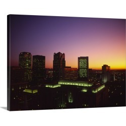 Large Gallery-Wrapped Canvas Wall Art Print 24 x 17 entitled Buildings in a city at dusk, Birmingham, Alabama,