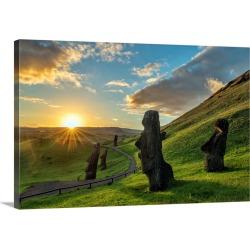Large Solid-Faced Canvas Print Wall Art Print 30 x 20 entitled Chile, Valparaiso, Easter Island, Moai at Rano Raraku Volca...