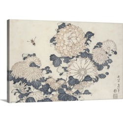 Large Gallery-Wrapped Canvas Wall Art Print 24 x 16 entitled Bee and chrysanthemums, from the series Big Flowers found on Bargain Bro India from Great Big Canvas - Dynamic for $214.99