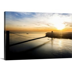 Large Solid-Faced Canvas Print Wall Art Print 30 x 20 entitled Aerial view of Verrazano Bridge late afternoon, NYC