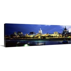 Large Gallery-Wrapped Canvas Wall Art Print 36 x 12 entitled Old Harbor Montreal Quebec Canada