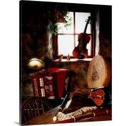 Large Solid-Faced Canvas Print Wall Art Print 24 x 30 entitled Traditional Musical Instruments In Old Cottage, Ireland