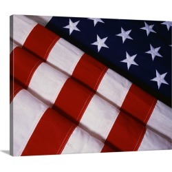Large Solid-Faced Canvas Print Wall Art Print 30 x 24 entitled Folds of the American Flag