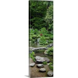 Large Solid-Faced Canvas Print Wall Art Print 12 x 36 entitled Rocks in a garden, Iwanami Garden, Yamagata, Japan