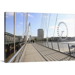 Large Solid-Faced Canvas Print Wall Art Print 30 x 20 entitled Bridge and London Eye, London, England