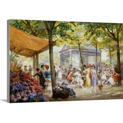 Large Gallery-Wrapped Canvas Wall Art Print 24 x 16 entitled A Parisian Flower Market By Eugene Auguste Francois Deully found on Bargain Bro India from Great Big Canvas - Dynamic for $214.99