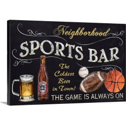 Large Solid-Faced Canvas Print Wall Art Print 30 x 20 entitled Sports Bar