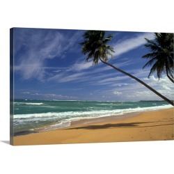 Large Solid-Faced Canvas Print Wall Art Print 30 x 20 entitled Puerto Rico. Pinone's Beach