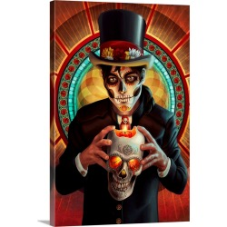 Large Solid-Faced Canvas Print Wall Art Print 20 x 30 entitled Day of the Dead, Man and Candle