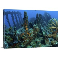 Large Solid-Faced Canvas Print Wall Art Print 30 x 20 entitled Wreck of the RMS Rhone, iron-hulled steam sailing vessel