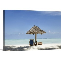 Large Solid-Faced Canvas Print Wall Art Print 30 x 20 entitled Palapas/Umbrellas provide shade on a beach