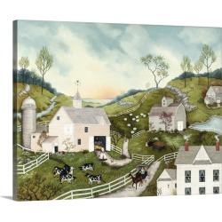 Large Solid-Faced Canvas Print Wall Art Print 30 x 24 entitled Hillside Farm