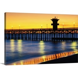 Large Solid-Faced Canvas Print Wall Art Print 30 x 20 entitled Seal Beach Pier at sunset