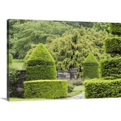 Large Gallery-Wrapped Canvas Wall Art Print 24 x 16 entitled A topiary garden in spring