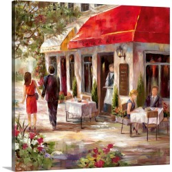 Large Solid-Faced Canvas Print Wall Art Print 20 x 20 entitled Cafe Afternoon II