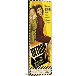 Large Solid-Faced Canvas Print Wall Art Print 12 x 36 entitled Detour - Vintage Movie Poster