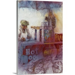 Large Solid-Faced Canvas Print Wall Art Print 20 x 30 entitled Hot Dog Vendor