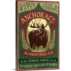 Large Gallery-Wrapped Canvas Wall Art Print 16 x 24 entitled Anchorage, Alaska - Moose Head Ale Vintage Sign: Retro Travel... found on Bargain Bro India from Great Big Canvas - Dynamic for $214.99