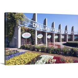 Large Gallery-Wrapped Canvas Wall Art Print 24 x 16 entitled Entrance to the Dallas Farmers Market
