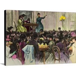 Large Gallery-Wrapped Canvas Wall Art Print 30 x 22 entitled Public Meeting Suffragettes in Berlin, Early 20th Century, Co...