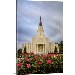 Large Gallery-Wrapped Canvas Wall Art Print 17 x 24 entitled Houston Texas Temple, Roses, Spring, Texas