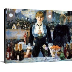 Large Solid-Faced Canvas Print Wall Art Print 24 x 18 entitled Bar at the Folies-Bergere