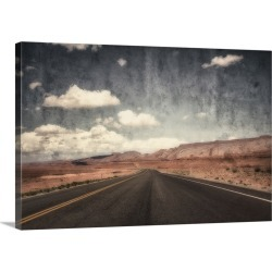 Large Solid-Faced Canvas Print Wall Art Print 30 x 20 entitled Lonely road in the Arizona desert