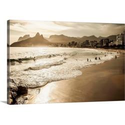 Large Solid-Faced Canvas Print Wall Art Print 30 x 20 entitled Brazil, Rio de Janeiro, Ipanema beach, The beach at sunset
