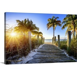 Large Gallery-Wrapped Canvas Wall Art Print 24 x 16 entitled Old wooden walkway to a tropical beach, Key West