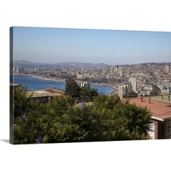 Large Solid-Faced Canvas Print Wall Art Print 30 x 20 entitled Chile, Valparaiso, overview of city and the bay.