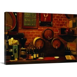 Large Solid-Faced Canvas Print Wall Art Print 30 x 20 entitled Bar In Madrid By Pam Ingalls