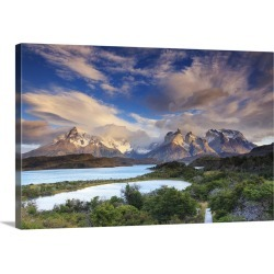 Large Solid-Faced Canvas Print Wall Art Print 30 x 20 entitled Chile, Patagonia, Torres del Paine National Park, Lake Peohe