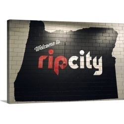Large Solid-Faced Canvas Print Wall Art Print 30 x 20 entitled A sign at the Moda Center in Portland, Oregon