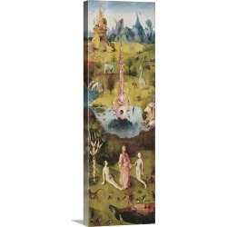 Large Solid-Faced Canvas Print Wall Art Print 12 x 36 entitled Garden of Earthly Delights, Adam and Eve, 1503-1504
