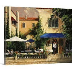 Large Solid-Faced Canvas Print Wall Art Print 30 x 24 entitled Cafe Bar
