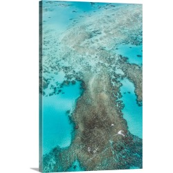 Large Gallery-Wrapped Canvas Wall Art Print 16 x 24 entitled Aerial View Great Barrier Reef, Australia