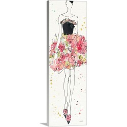 Large Solid-Faced Canvas Print Wall Art Print 12 x 36 entitled Floral Fashion II