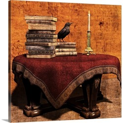 Large Gallery-Wrapped Canvas Wall Art Print 20 x 20 entitled Mysterious Table with books and candle