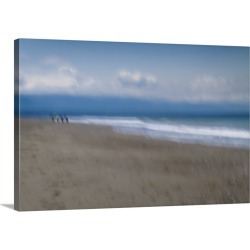 Large Solid-Faced Canvas Print Wall Art Print 30 x 20 entitled A Walk On The Beach