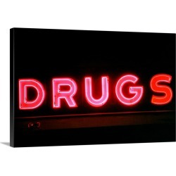 Large Solid-Faced Canvas Print Wall Art Print 30 x 20 entitled Drugs store sign