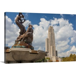 Large Solid-Faced Canvas Print Wall Art Print 30 x 20 entitled The Schenley Fountain in front of the Cathedral of Learning...