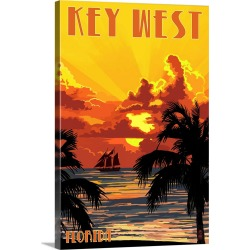 Large Gallery-Wrapped Canvas Wall Art Print 16 x 24 entitled Key West, Florida - Sunset and Ship: Retro Travel Poster