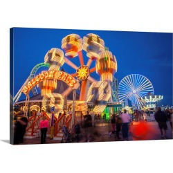 Large Gallery-Wrapped Canvas Wall Art Print 24 x 16 entitled The Wildwood Beach steel pier's ferris wheel at twilight with... found on Bargain Bro India from Great Big Canvas - Dynamic for $224.99