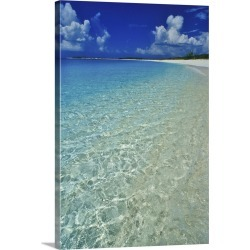 Large Gallery-Wrapped Canvas Wall Art Print 16 x 24 entitled Pristine beach on Conception Island, Long Island, Bahamas