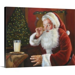 Large Solid-Faced Canvas Print Wall Art Print 30 x 24 entitled Santa's Milk And Cookies