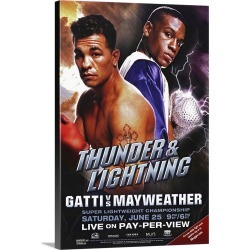 Large Gallery-Wrapped Canvas Wall Art Print 16 x 24 entitled Arturo Gatti vs. Floyd Mayweather (2005)
