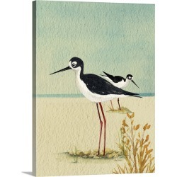 Large Solid-Faced Canvas Print Wall Art Print 30 x 40 entitled Seabirds By The Sea