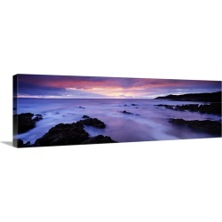 Large Solid-Faced Canvas Print Wall Art Print 48 x 16 entitled Rock formations on the beach Barricane Beach Morte Point Wo...