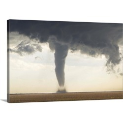 Large Solid-Faced Canvas Print Wall Art Print 30 x 20 entitled A classic spring tornado from a supercell thunderstorm, wit...